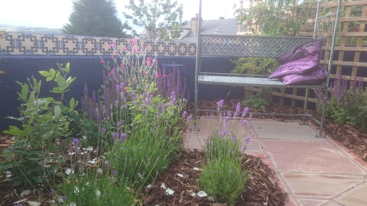 moorish garden with bench