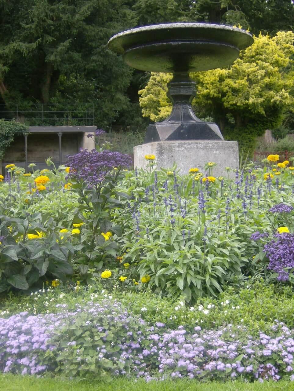Victorian garden with fountain